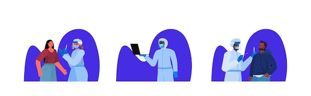 Colocar médicos com máscaras fazendo testes de esfregaço para amostra de coronavírus de pacientes de raça mista pcr procedimento de diagnóstico covid-19 pandemia conceito retrato ilustração vetorial horizontal