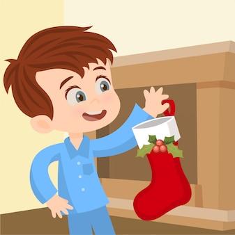 Colocar uma meia na lareira