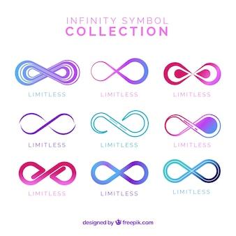 Coloful coleção de símbolos de infinito