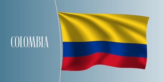 Colômbia acenando ilustração de bandeira