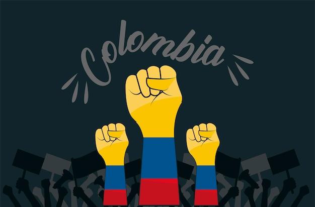 Colombianos com punhos