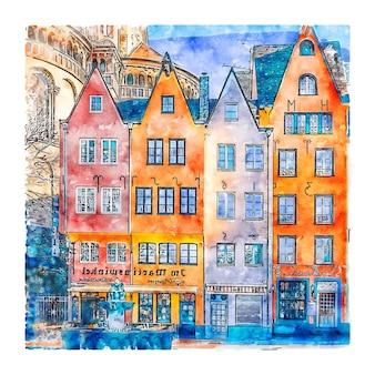 Colônia, alemanha, desenho em aquarela, ilustrações desenhadas à mão