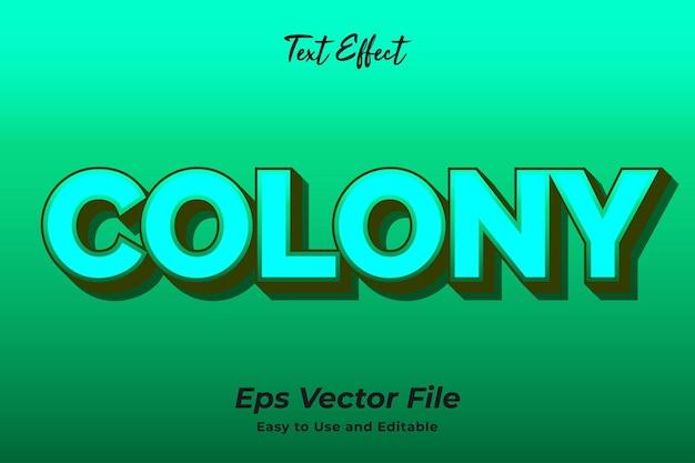 Colônia de efeito de texto editável e fácil de usar vetor premium