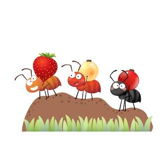 Colônia de formigas carregando frutas vermelhas