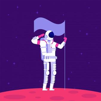 Colonização de marte. astronauta holging bandeira no planeta vermelho no espaço sideral. projeto astronáutico de marte