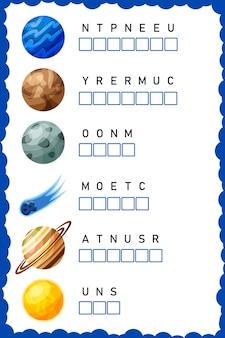 Coloque as letras na ordem correta. planilha para educação