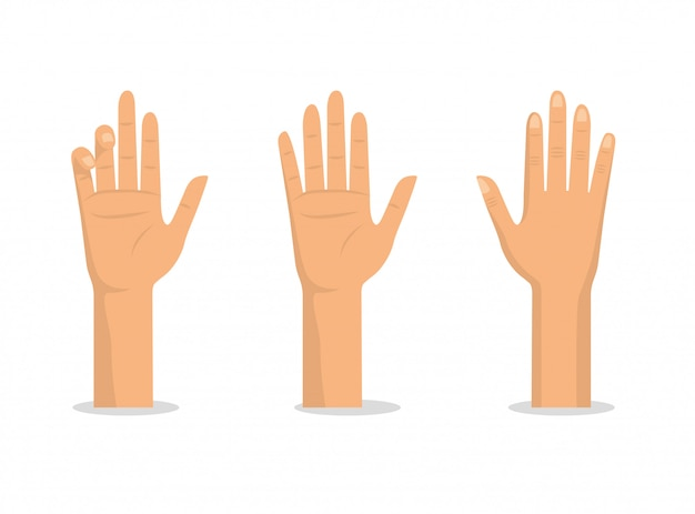 Coloque as mãos para cima com as palmas das mãos e os dedos