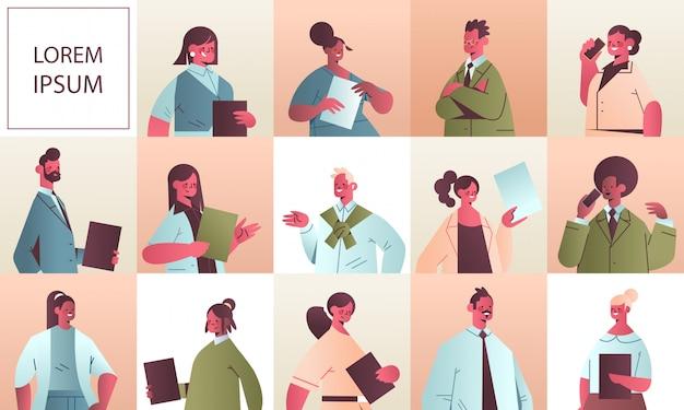 Coloque empresários em diferentes poses, empresários