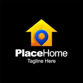 Coloque o design do modelo do gradiente do logotipo da casa