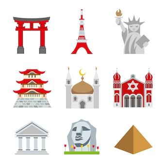 Coloque o vetor de arquitetura do mundo de viagens landmark