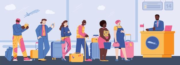 Coloque os passageiros na fila com a bagagem no balcão de check-in, uma ilustração vetorial