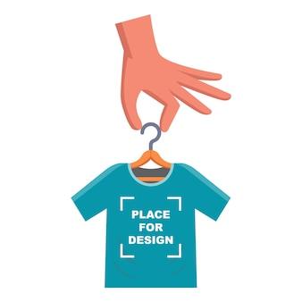 Coloque seus designs em uma camiseta. crie seus próprios produtos na camiseta. ilustração vetorial plana.