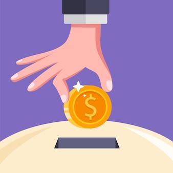 Coloque uma moeda na ranhura. economizar dinheiro em um cofrinho. ilustração plana.