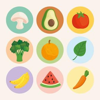 Coloque vegetais e frutas em quadros redondos, em fundo branco