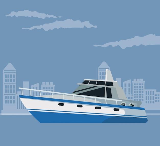 Color poster paisagem da cidade com barco sobre a água