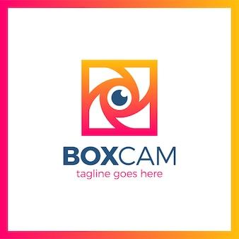 Color square box photo logotipo do obturador da câmera