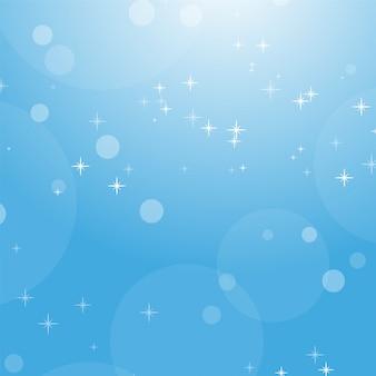 Colora o fundo abstrato do céu azul com bokeh e estrelas.