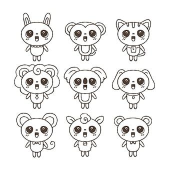 Coloração bonita para crianças com coleção de animais