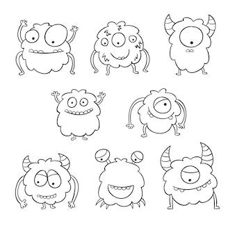 Coloração bonita para crianças com coleção de monstros