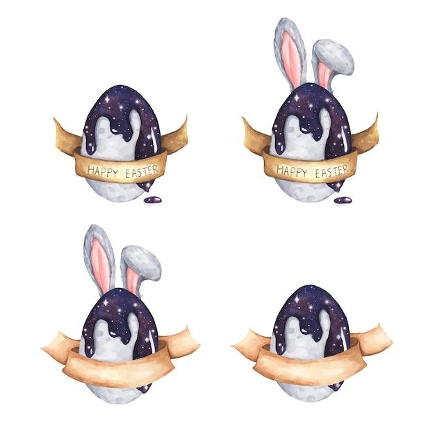 Coloração cósmica em aquarela de ovos de páscoa e orelhas de coelho