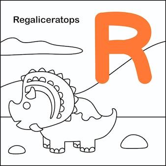 Coloração de dinossauro com alfabeto r