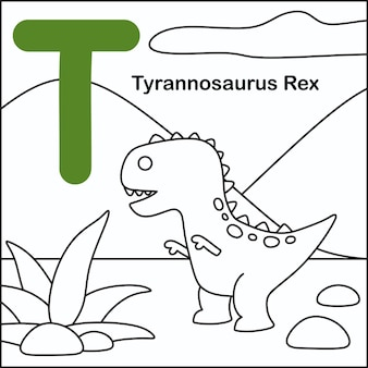 Coloração de dinossauro com alfabeto t