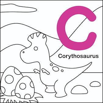 Coloração de dinossauros com o alfabeto c