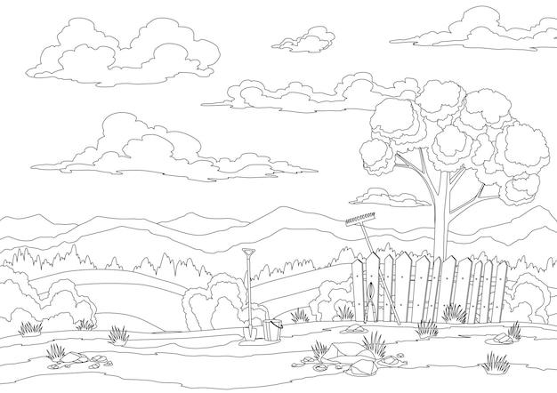 Coloração de paisagem de primavera com grama, colinas, céu com nuvens e implementos agrícolas. fundo de campo de natureza em estilo cartoon plana. campo lindo com árvore