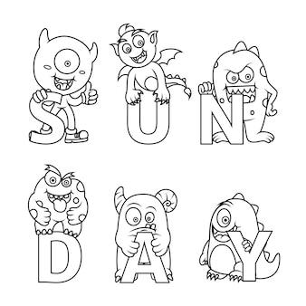 Coloração fofa para crianças com coleção de monstros