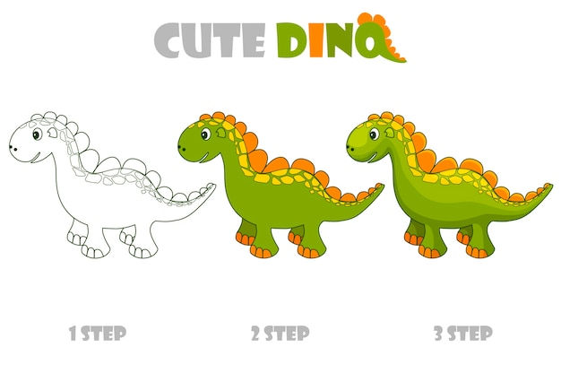 Coloração passo a passo ou aprimoramento de um dinossauro fofo.