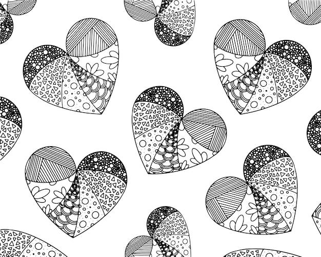 Coloração vetorial de muitos corações a partir de padrões zentangle. aplicação em materiais impressos, criando