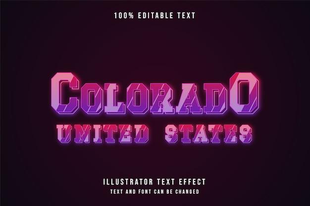 Colorado estados unidos, efeito de texto editável gradação rosa neon efeito