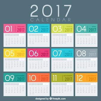 Colored 2017 modelo de calendário