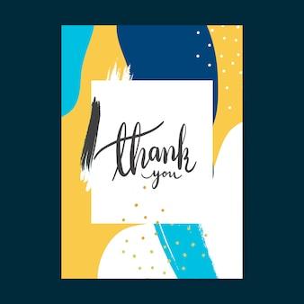 Colorful memphis design cartão de agradecimento vector