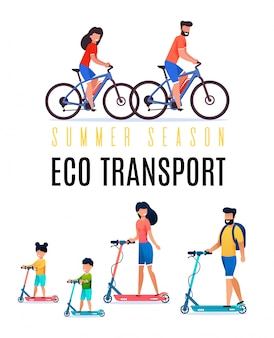 Colorful poster summer season eco transporte plano