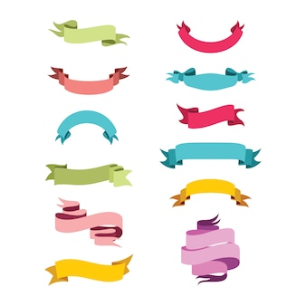 Colorful ribbon banner vector conjunto de variação de design plano