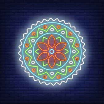 Colorful round mandala pattern neon sign