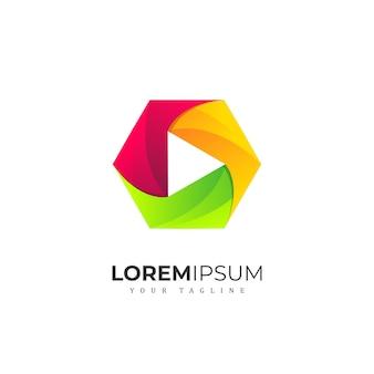 Colorfull hexagon media logo premium