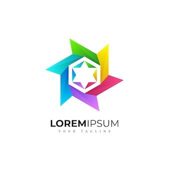 Colorfull pentagram logo premium