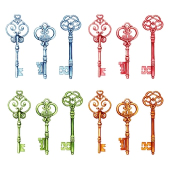 Colorfull vintage victorian keys rosa azul verde ouro