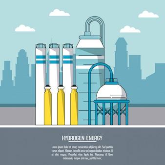Colorida paisagem da cidade planta de produção de energia de hidrogênio