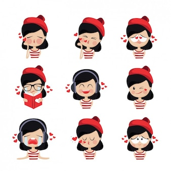 Coloridas avatares menina