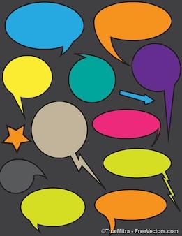 Coloridas bolhas caixas de diálogo