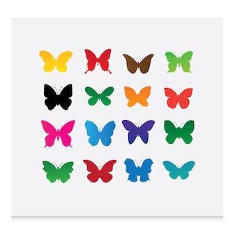Coloridas borboletas silhuetas