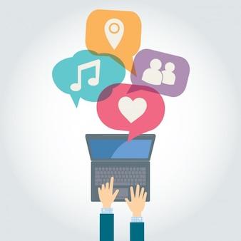 Coloridas elementos de redes sociais