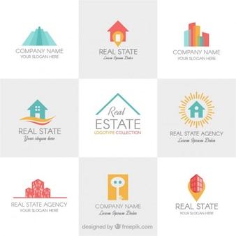 Coloridas modelos de logotipo imobiliários