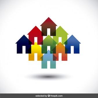 Coloridas silhuetas de casas translúcidas