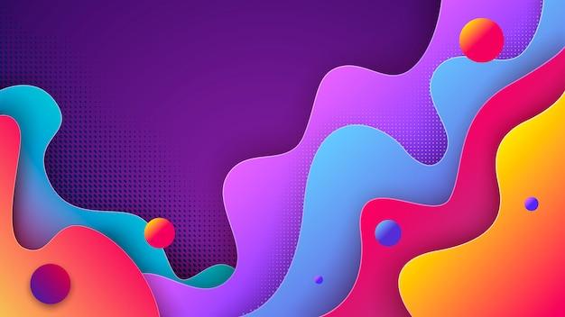 Colorido abstrato 3d com formas de corte de papel