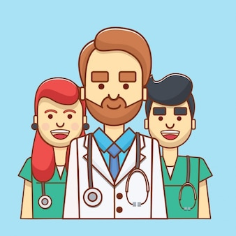 Colorido avatar médica