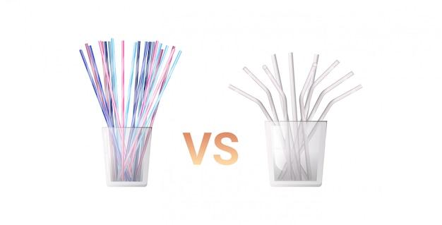 Colorido bebendo plástico descartável vs palhas de metal no conceito de desperdício zero de vidro fundo branco liso horizontal